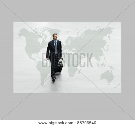 Business Man Walking On The World Map, International Travel Concept