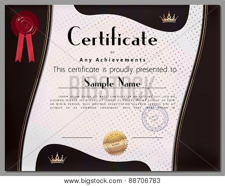 Gift Certificate, Diploma, Coupon, Award Of Course Completion Template With Brown Border And Gold El