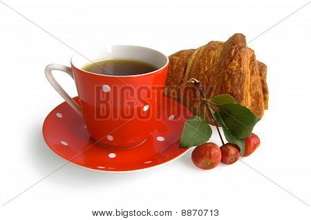 Red Coffee Cup With Croissant