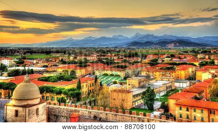 View Of The Apuan Alps From The Pisa Tower - Italy