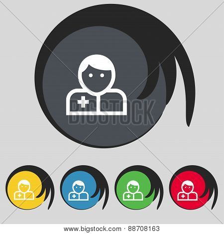 Doctor Icon Sign. Symbol On Five Colored Buttons. Vector