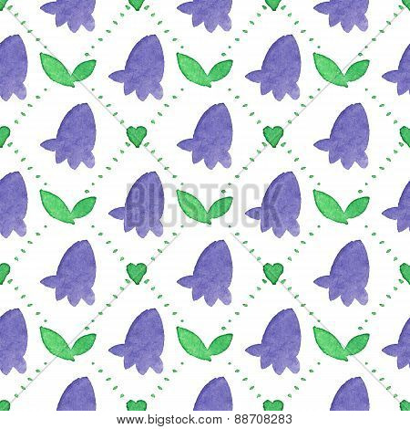 Seamless watercolor pattern with bluebells on the white background, aquarelle. Vector illustration.