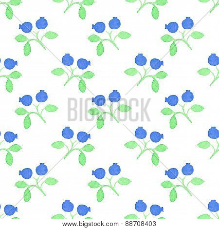 Seamless watercolor pattern with blueberries on the white background, aquarelle.  Vector illustratio