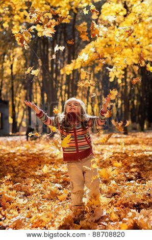 Little happy girl throws up fallen leaves