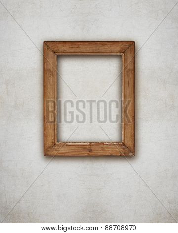 Wooden Picture Frame Blank On The Wall With Ruined Effects