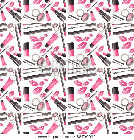 Seamless watercolor pattern with beauty items on the white background, aquarelle.  Vector illustrati