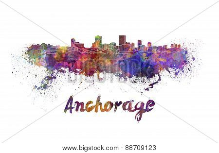 Anchorage Skyline In Watercolor