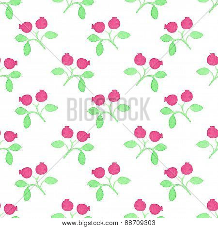 Seamless watercolor pattern with cranberries on the white background, aquarelle.  Vector illustratio