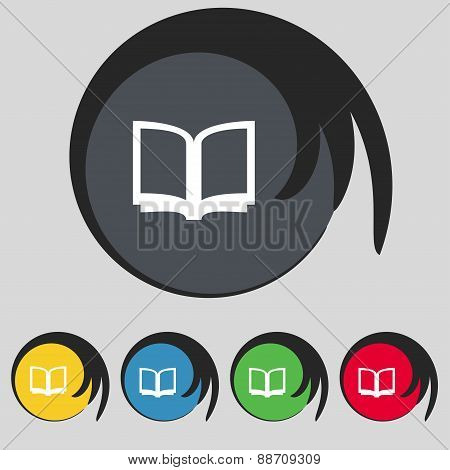 Open Book Icon Sign. Symbol On Five Colored Buttons. Vector