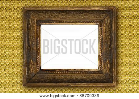 Classic Old Wooden Picture Frame Carved By Hand On Gold Wall Background