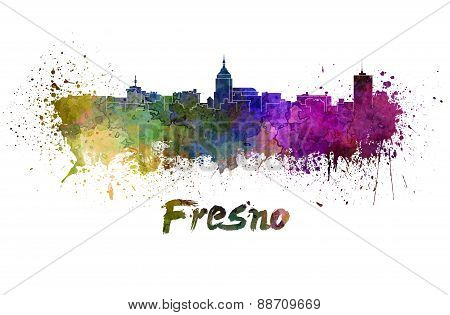 Fresno Skyline In Watercolor
