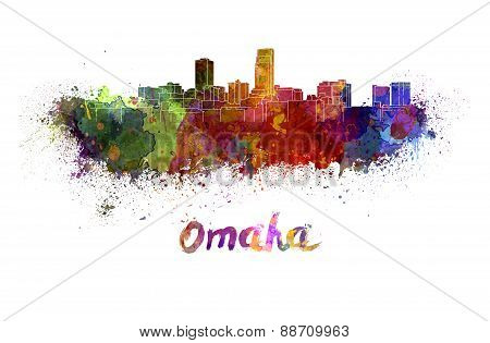 Omaha Skyline In Watercolor