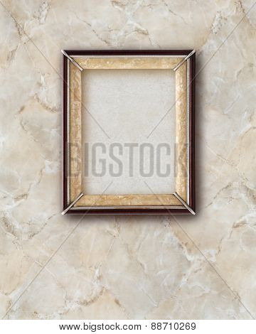 Old Picture Frame  Wood Isolated On Marble Effect Background