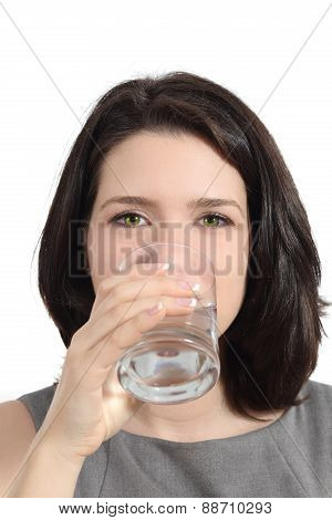 Pretty Woman Drinking Water From A Glass
