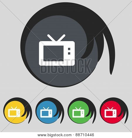Retro Tv Mode Icon Sign. Symbol On Five Colored Buttons. Vector