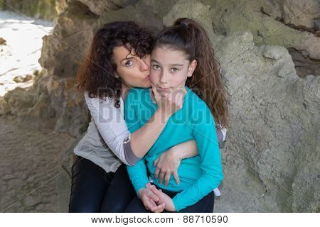 Mother And Daughter Share A Tender Moment