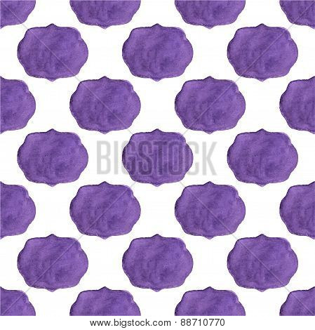 Watercolor seamless pattern with vicrorian frames on the white background, aquarelle.  Vector illust
