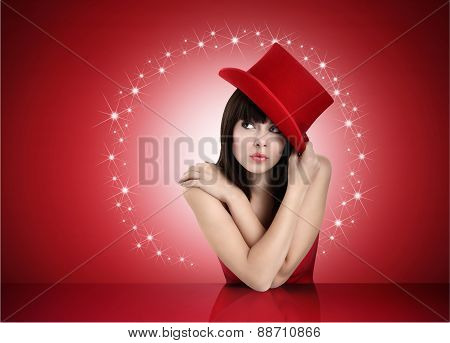 girl with hat looking up concept of holiday