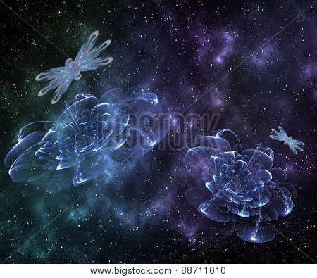 Abstract Cosmic Cloud,   Stars Of A Planet And Galaxy.  Fantasy Color Background For Creative Design