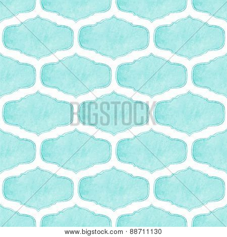 Watercolor seamless pattern with victorian frames on the white background, aquarelle. Vector illustr