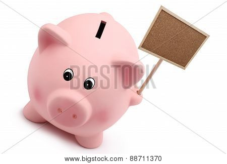 Piggy Bank With Sign Isolated On White Background