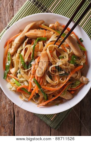 Chow Mein With Chicken And Vegetables, Top View Vertical