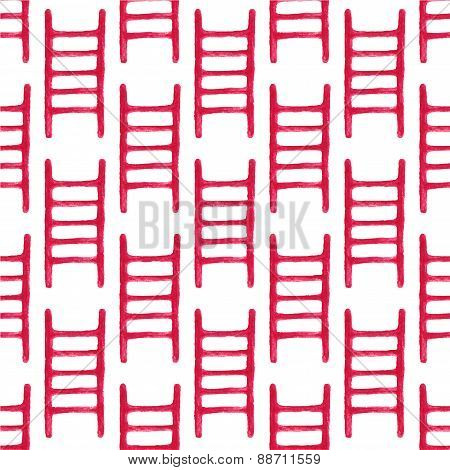 Watercolor seamless pattern with fire ladder on the white background, aquarelle pencil.  Vector illu