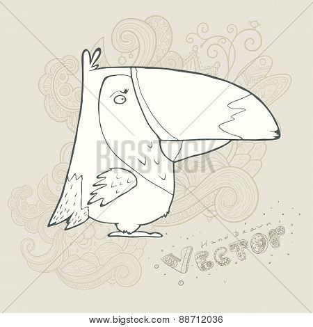 Illustration hand drawn vector retro cartoon bird with abstract floral background