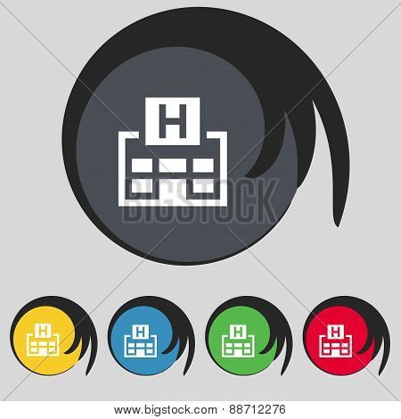 Hotkey Icon Sign. Symbol On Five Colored Buttons. Vector