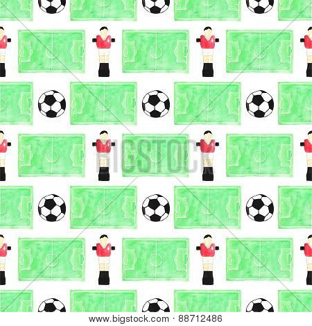 Watercolor seamless pattern with ball, player and football field on the white background, aquarelle.
