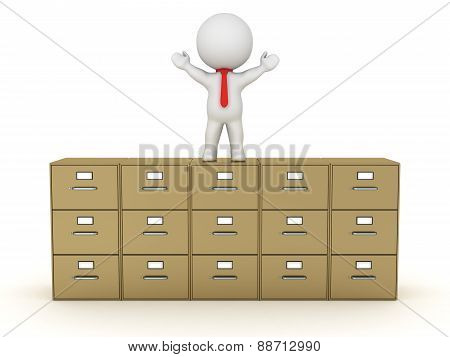 3D Character With Arms Up Standing On Large Archiving Cabinet