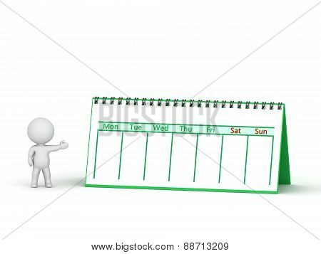 3D Character Showing Calendar With Spiral Binding