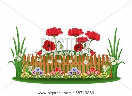 Beautiful bed with different flowers