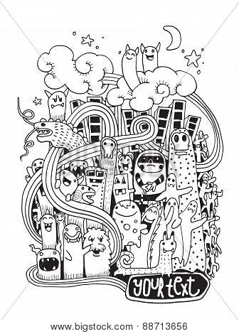 Hand Drawn Crazy Doodle Monster City