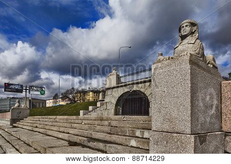 Bunk stone terrace, a marina with sphinxes in front of the manor-Kushelev Bezborodko. St. Petersburg