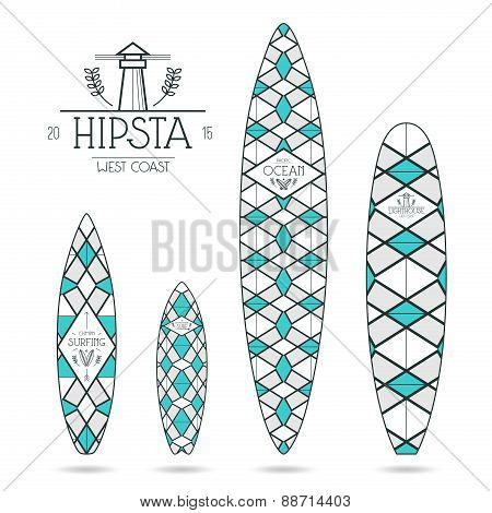 Hipster Print For Surfboards