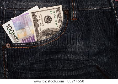 Different money in jeans pocket