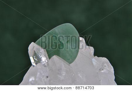 Aventurin On Rock Crystal