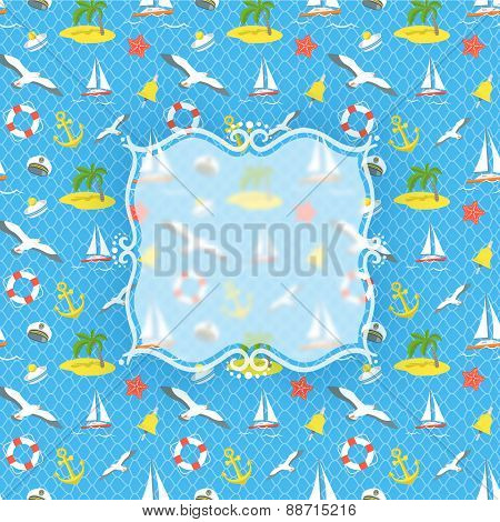Nautical Icons Background With Blurred Label