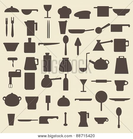 Cooking items types silhouette icons set. Perfect for web design vector illustration. Editable.