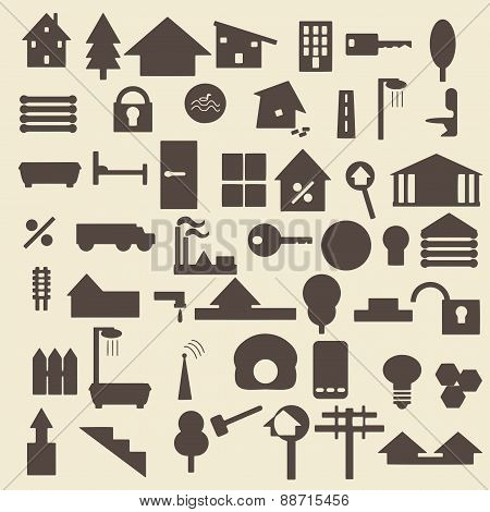 Real estate items silhouette icons set. Perfect for web design vector illustration. Editable.