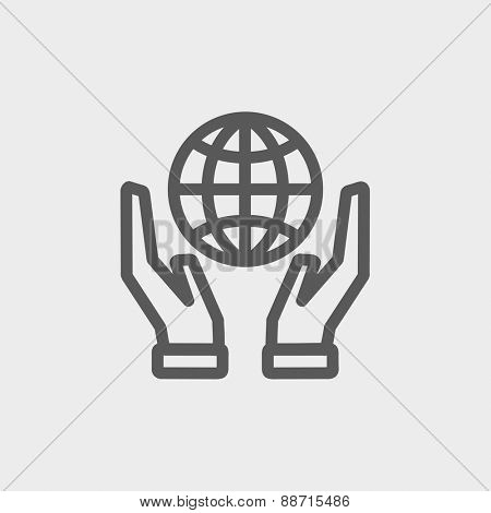 Two hands holding globe icon thin line for web and mobile, modern minimalistic flat design. Vector dark grey icon on light grey background.
