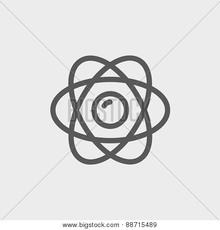 Atom icon thin line for web and mobile, modern minimalistic flat design. Vector dark grey icon on light grey background.