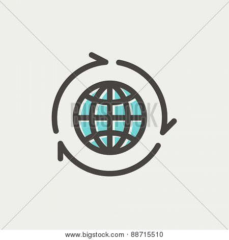 Globe with arrow around icon thin line for web and mobile, modern minimalistic flat design. Vector icon with dark grey outline and offset colour on light grey background.
