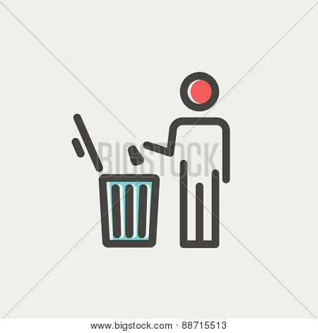 Man throwing garbage in a bin thin line icon for web and mobile, modern minimalistic flat design. Vector icon with dark grey outline and offset colour on light grey background.