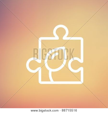 Jigsaw puzzle with leaf icon thin line for web and mobile, modern minimalistic flat design. Vector white icon on gradient mesh background.