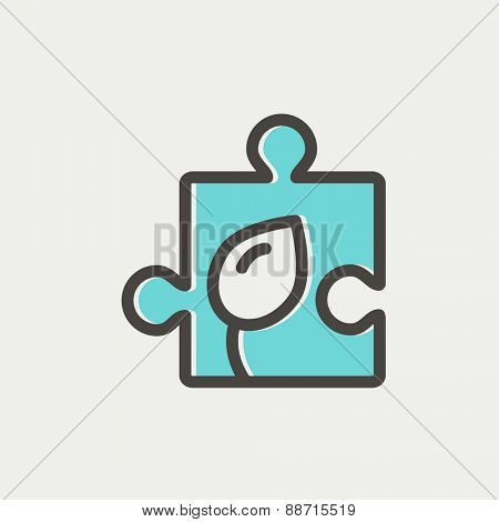 Jigsaw puzzle with leaf icon thin line for web and mobile, modern minimalistic flat design. Vector icon with dark grey outline and offset colour on light grey background.
