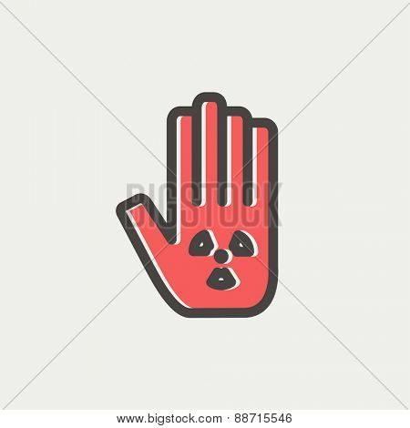 Hand and some object icon thin line for web and mobile, modern minimalistic flat design. Vector icon with dark grey outline and offset colour on light grey background.