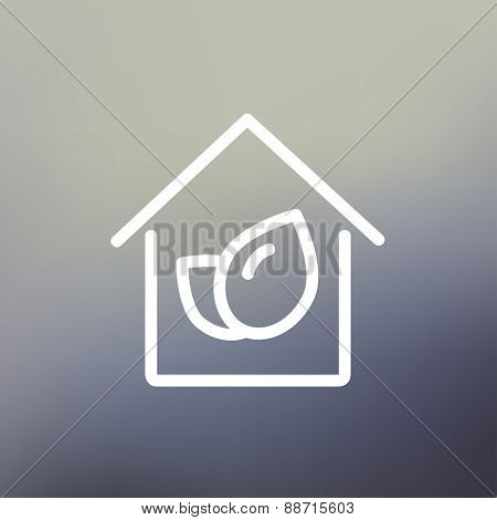 Leaf house icon thin line for web and mobile, modern minimalistic flat design. Vector white icon on gradient mesh background.