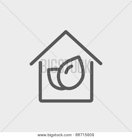 Leaf house icon thin line for web and mobile, modern minimalistic flat design. Vector dark grey icon on light grey background.